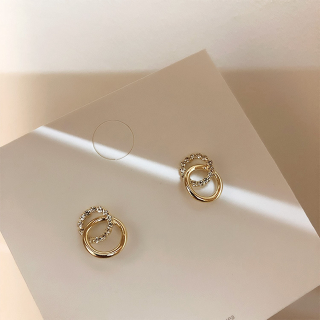 2020 Korean Simple Double Circle Gold Color Metal Rhinestone Drop Earrings For Women Fashion Small Pendientes Jewelry Gifts 4