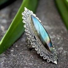 I & FDLK-anillo de compromiso de Metal con piedra antigua para Mujer, sortija grande, estilo bohemio, ovalado
