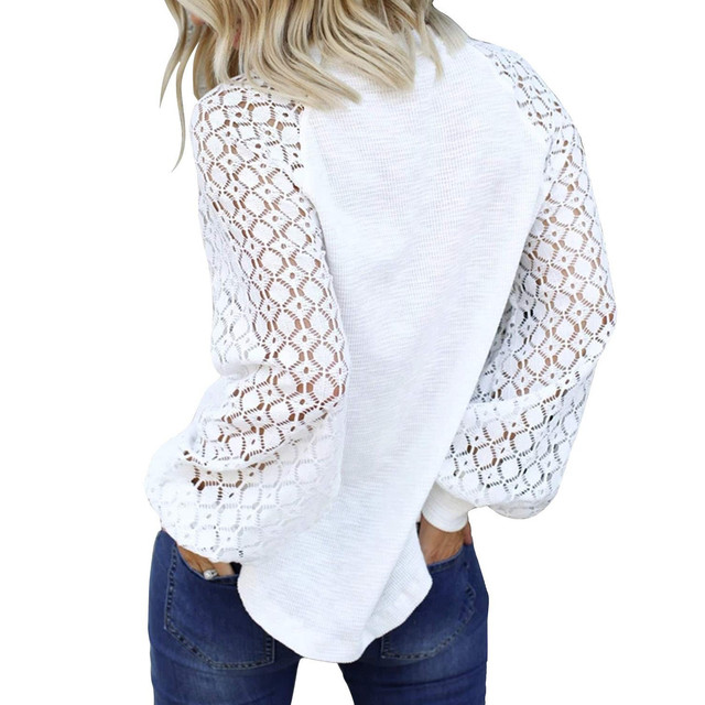 40# Autumn Winter Women Blouse O-neck Long-sleeved Lace Stitching Loose Tops Women Shirt Clothing Women Clothes Блузка Женская 3