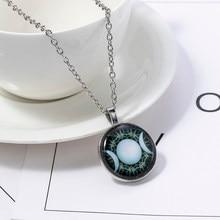 Collier pendentif Triple déesse Wicca, amulette magique circulaire, bijou lune