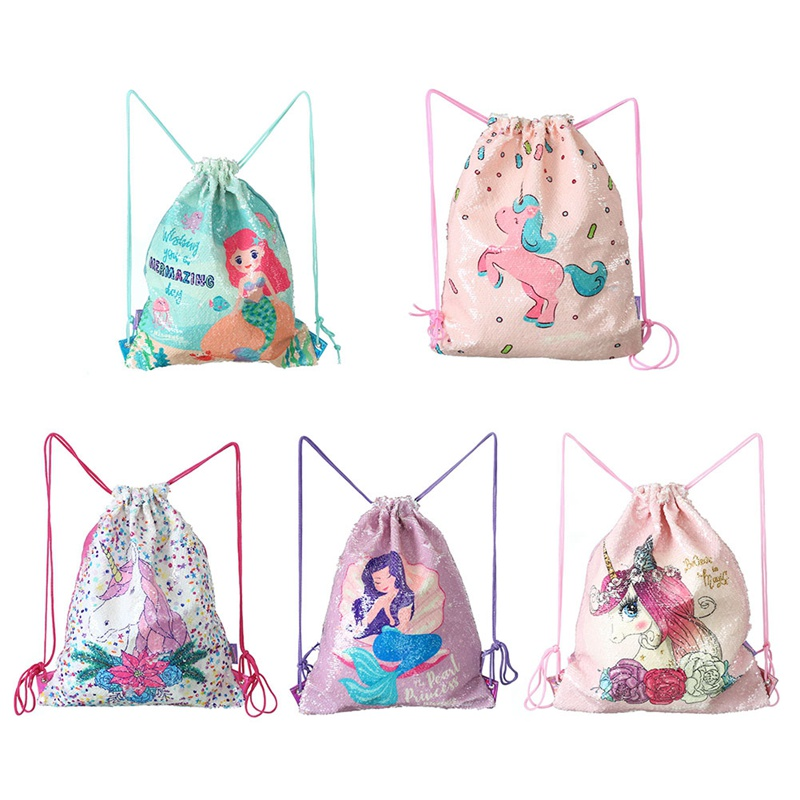 Unicorn Mermaid Sequins Drawstring Bag Women Girls Travel Backpack Beam Mouth Children Cartoon Drawstring School Backpack New