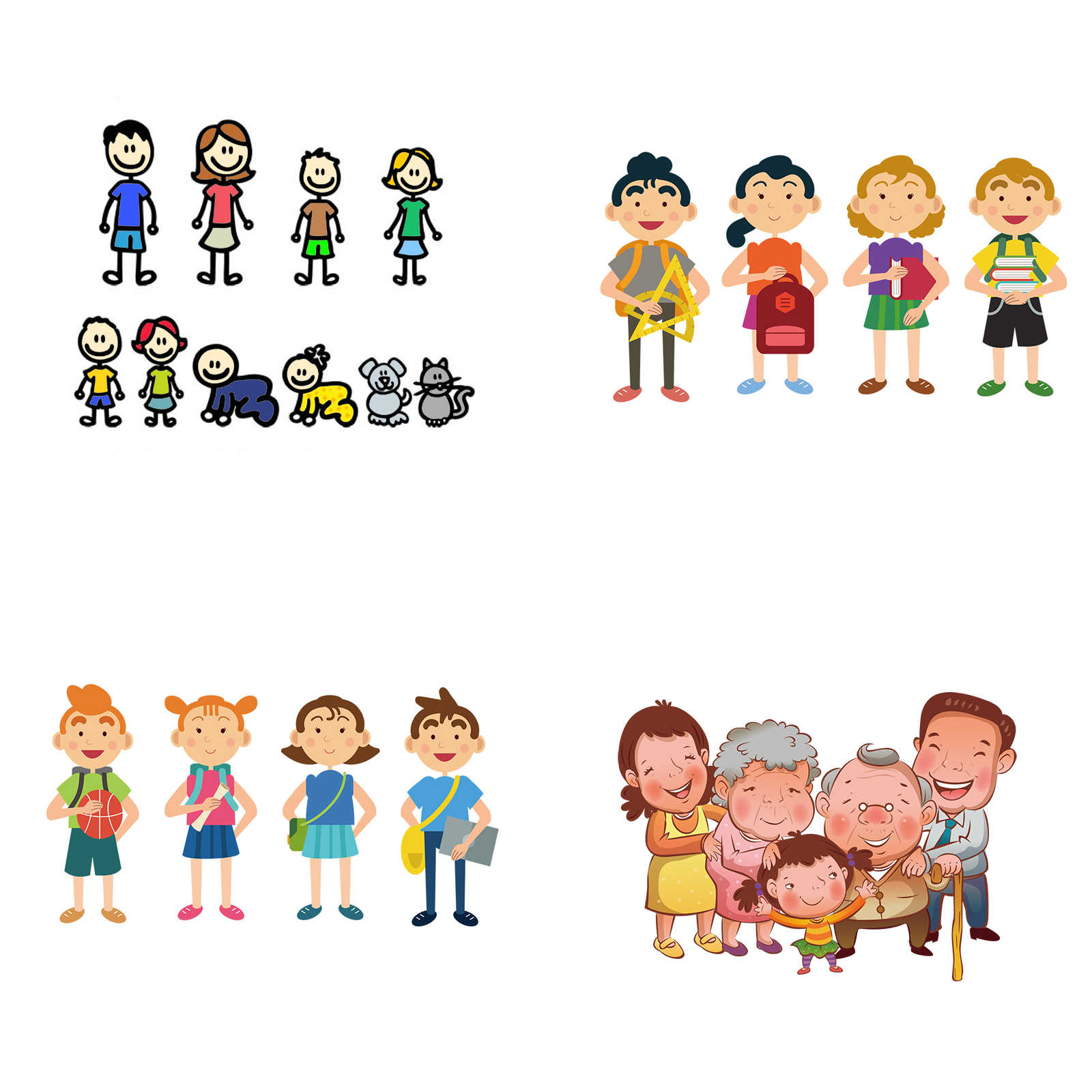 tancredy Big Family Color Car Stickers and Decals Window stickers Bicycle for Car Stickers Refrigerator Stickers and Car Styling