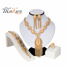 MUKUN Fashion Dubai Gold Jewelry Sets for Women African Beads Jewelry Sets Wedding Bridal Jewelry Crystal Necklace Earrings Set недорого