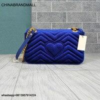 Luxury Top Quality2020 Velvet Female Shoulder Bags Women messenger Bags For Women Brand Designer chain Back Love Heart lady bags