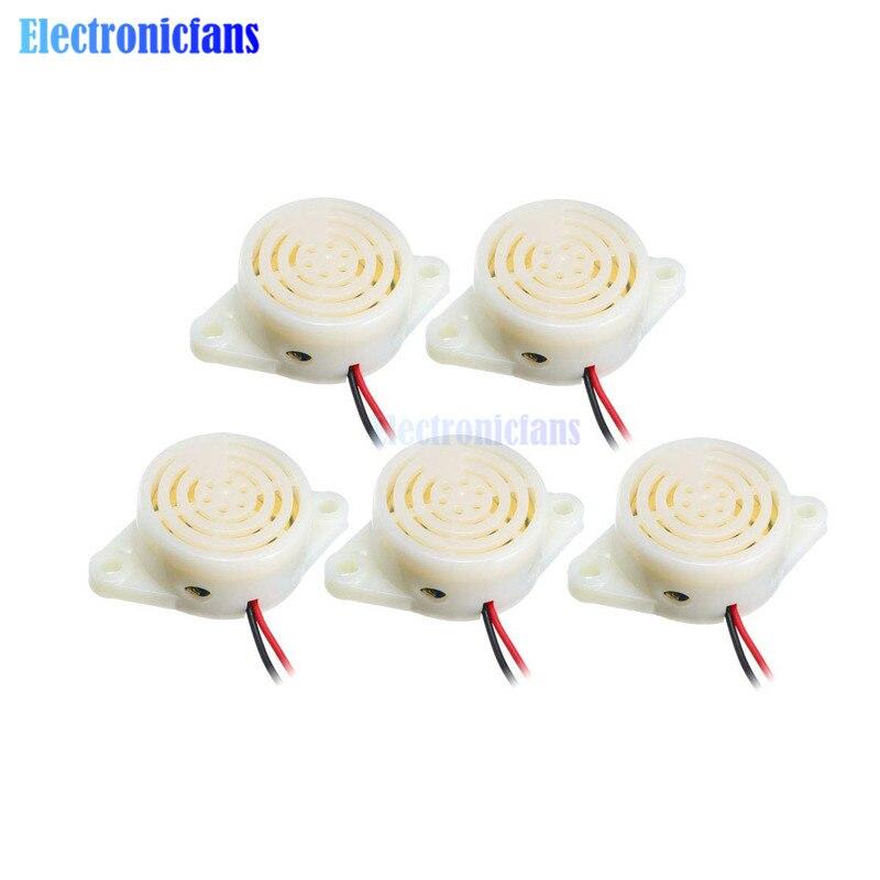 5 pces 95db alarme alto-decibel 3-24 v 12 v eletrônico buzzer sinal sonoro alarme intermitente contínuo sinal sonoro para arduino SFM-27