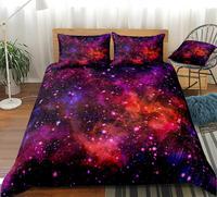 Colorido galáxia conjunto capa de edredão espaço exterior do fundamento universo colcha capa colorida glitter conjunto cama vermelho roxo 3 pçs rei dropship