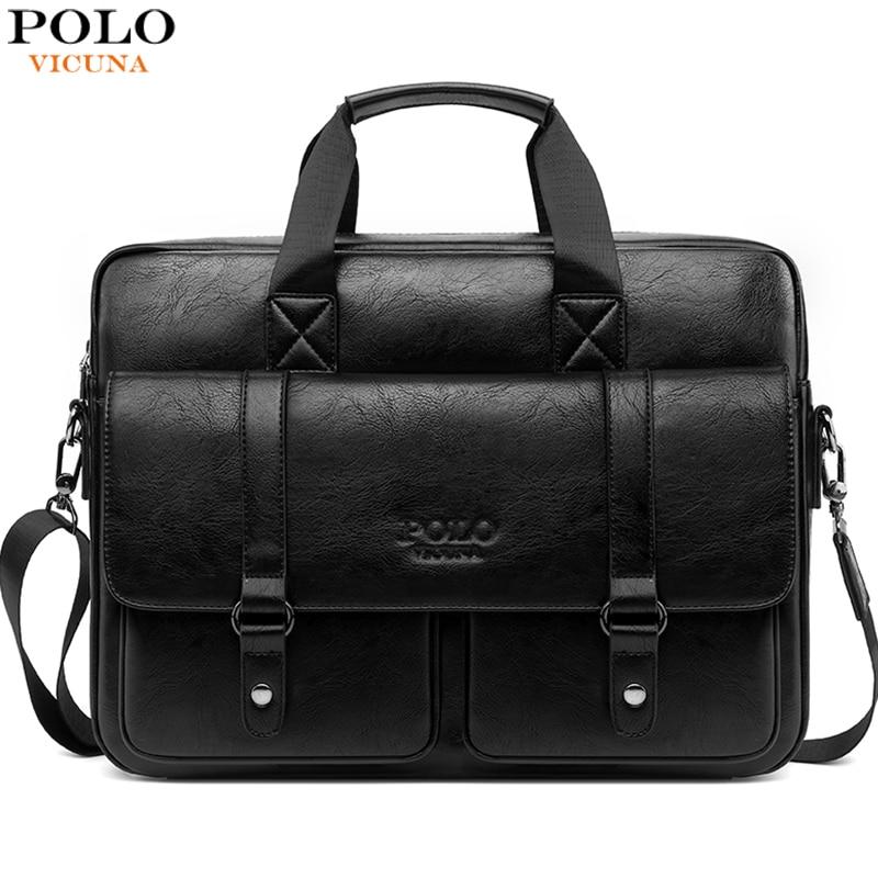 VICUNA POLO Multifunction Business Briefcase Men Large Leather Messenger Bag Luxury Vintage Laptop Handbag Document Shoulder Bag