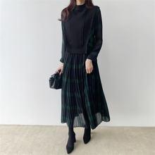 Женское винтажное платье в стиле пэчворк клетчатое длинное с