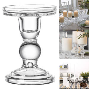 Candle-Holders Glass Perfect-Decoration Transparent High-Candlestick