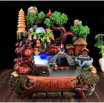 Creative Waterscape Office Wealthy Feng Shui Round Lucky Fish Tank Rockery Water Ornaments Fountain Living Room Indoor Transport