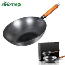 Китайский традиционный ручной работы Железный вок антипригарная сковорода без покрытия газовая и индукционная плита кухонная посуда кухонный горшок кастрюли