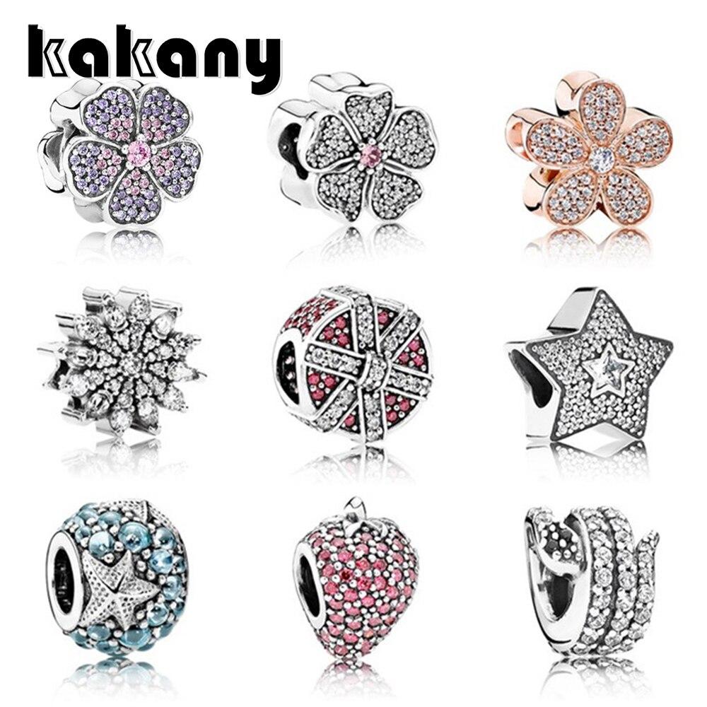 Kakany New High-quality Fashion S925 Sterling Silver Women's Charm Bracelet Original Female Diy Jewelry Shiny Flower Beads