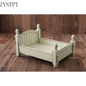 Image 2 - Vintage Posing Wood Bed For Baby Newborn Photography Props Photo Flokati Shoot Studio Accessories Fotografia Photoshoot Baskets