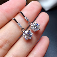 Moissanite earring 1CT 6.5mm VVS1 engagement fine jewelry Diamond Test Passed eardrop real 100% 925 Solid Sterling Silver