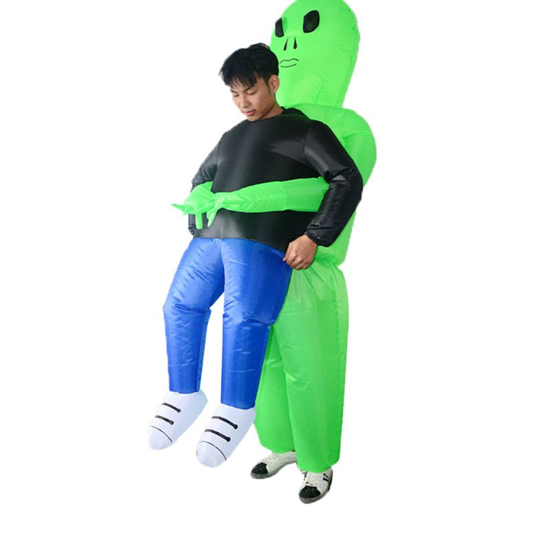 Inflatable Halloween Party Dress Green Alien Pick Me Up Costume Monster Adults Walking Performing Funny Props Suit 24BE