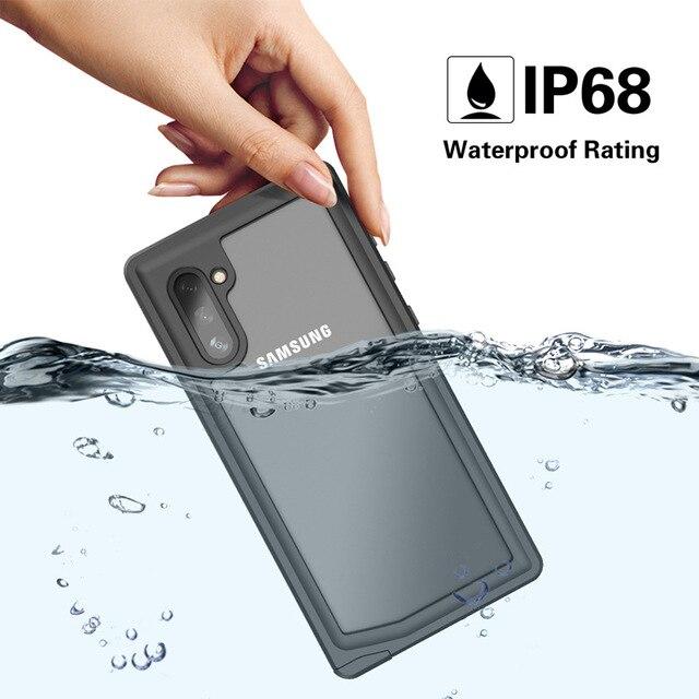 Şnorkel için orijinal su geçirmez kılıf Samsung not 10 artı kılıf dalış sualtı kapak Samsung Galaxy not için 10 artı kabuk