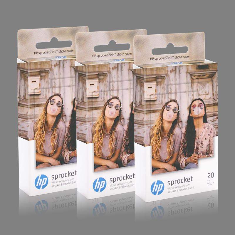 Topcolor 3 kutu HP Sprocket fotoğraf kağıt baskı ZINK fotoğraf kağıdı yapışkan destekli Photograic yaprak kağıt 2*3 inç fotoğraf etiket