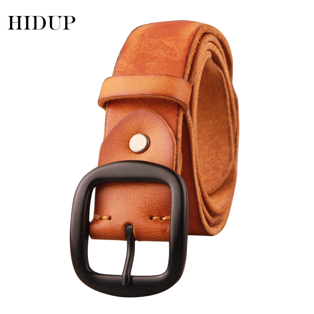 HIDUP Top Quality Solid Cowskin Leather Belt Black Pin Buckle Wrinkle Cow Genuine Belts Retro Styles  Jeans Accessories NWJ472