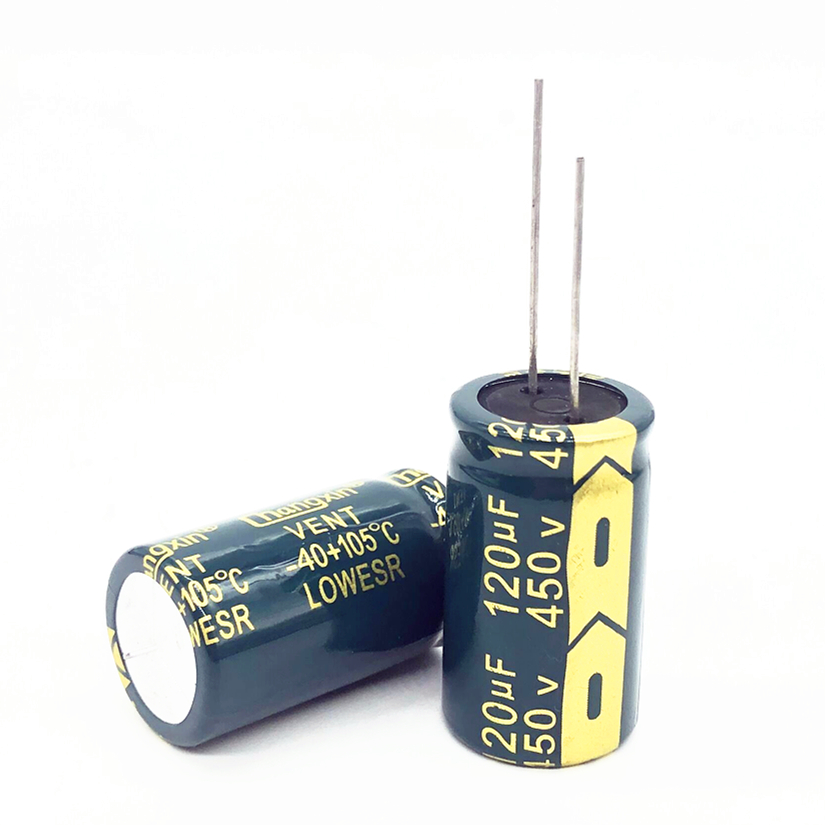 2pcsGood quality 450v 120UF high frequency low impedance 18*30 20% RADIAL aluminum electrolytic capacitor 120000NF 20% image