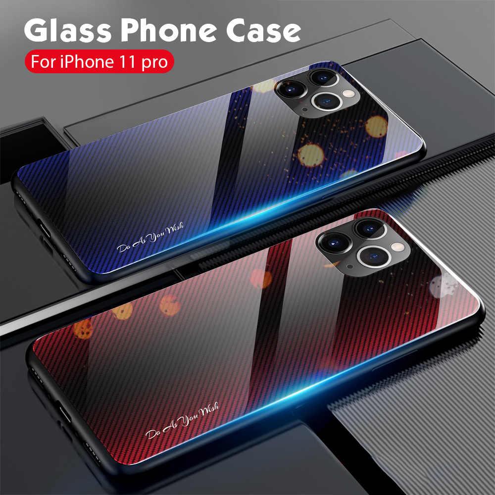 OTAO Gradiënt Gehard Glas Case Voor iPhone 11 Pro Max Xs XR X 9H Glas Back Cover Voor iPhone 6 6s 7 8 Plus TPU Bumper Case