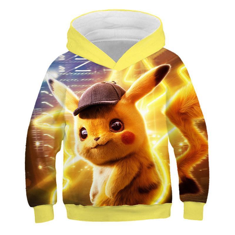 RoupasAutumn Fashion Casual Hooded Sweater Pokemon Pikachu 3D Dragon Print Hooded Sweatshirt Cute Hooded Anime Hooded Sweatshirt