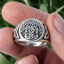 Bague Vintage Viking arbre de vie pour hommes, anneau à nœud celtique, motif classique irlandais, Punk, amulette nordique, bijoux cadeau pour hommes