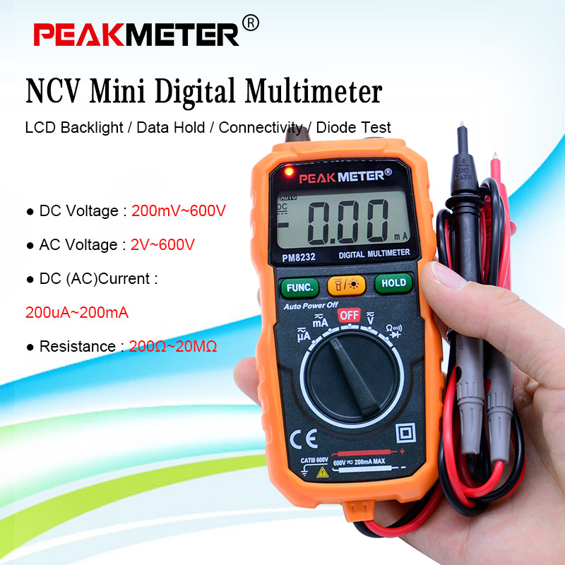 Ampèremeter Multimeter HYELEC MS8232 Contactloze mini digitale multimeter DC AC Spanning Stroomtester Data Hold Auto Power off