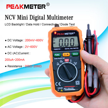 Ammeter Multimeter HYELEC MS8232 Non-Contact Mini Digital Multimeter DC AC Voltage Current Tester Data Hold Auto Power off