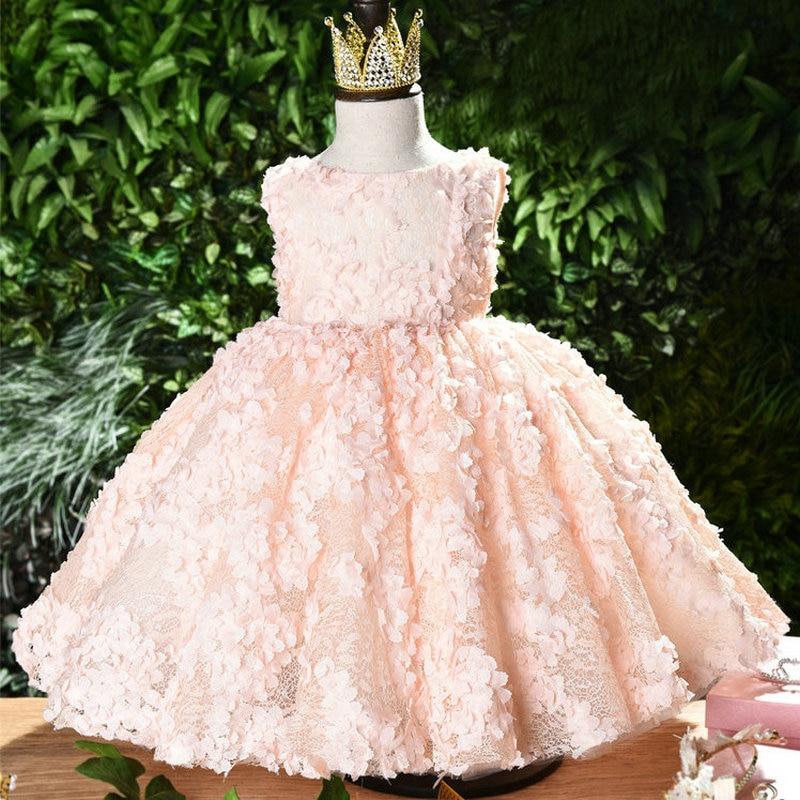 2019 Infantil Baby Girl Tutu Dress Elegant Gown Birthday Dress For Newborn Clothing Floral Princess Dress Wedding 1 Year Dresse