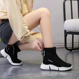 Image 4 - Женские повседневные ботинки SWYIVY, черные ботинки мартинсы на плоской платформе, без застежки, из флока, для осени, 2019