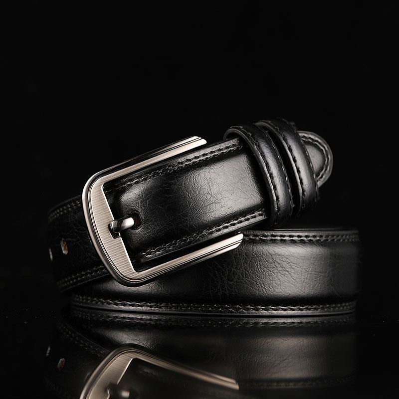 Men's Belt Men Real Cowhide Pin Buckle Belt Brown Middle-Aged Youth Casual Trendy Men's Trouser Belt Luxury Business Leather