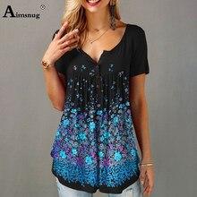 2020 plus size 4xl 5xl boho impressão flor camiseta feminina casual tshirt manga curta verão nova solto feminino topos pullovers