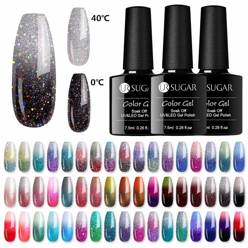UR Gula Termal Ultra Tipis Glitter 3 Warna Rendam Off UV Gel Warna Chaging Kepingan Salju Suhu Perubahan Warna gel Nail Art Gel