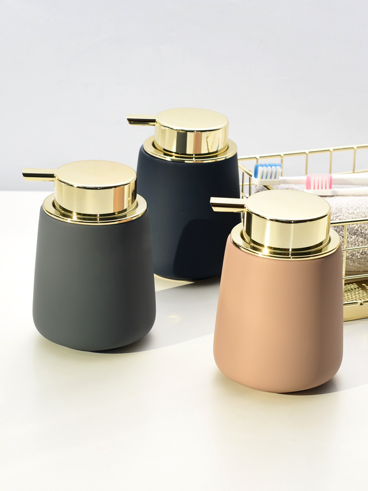 Nordic Decoration Home INS Bathroom Accessories Ceramic Lotion Bottle Press-Type Hand Sanitizer Bottle Shower Gel Soap Dispenser
