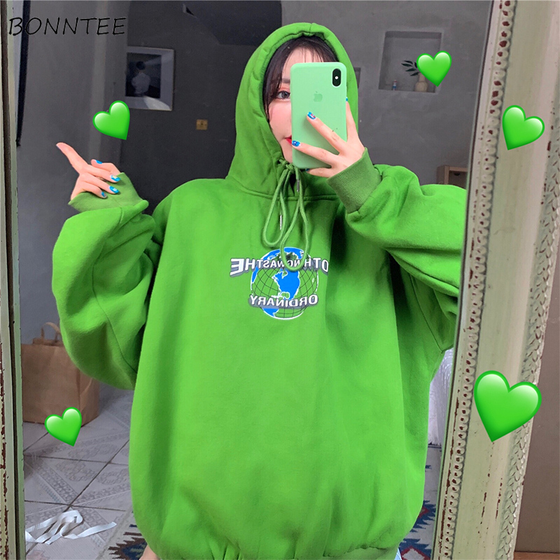 Hoodies Women Girl Spring Autumn 2019 Korean Style Chic Thin Printed Streetwear Ulzzang Soft Loose Large Size Womens Sweatshirt