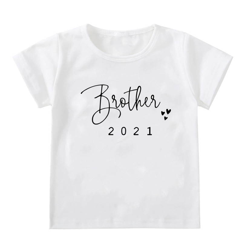 Promoted To Big Sister/Brother 2021Kids Tshirts Announcement Shirt Funny Girl Boy Short Sleeve Casual Tees Children Fashion Tops 5