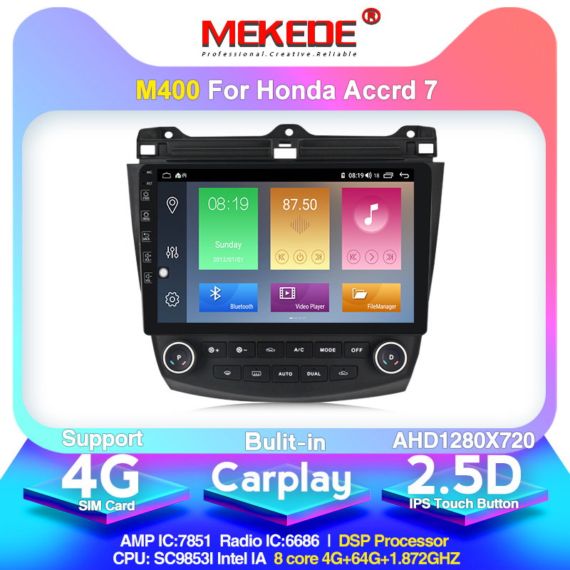 MEKEDE 1024X600 4G+64G Android 10.0 4G Car Radio Multimedia Player For Honda Accord 7 2003-2007 Navigation GPS Auto 2 Din No Dvd