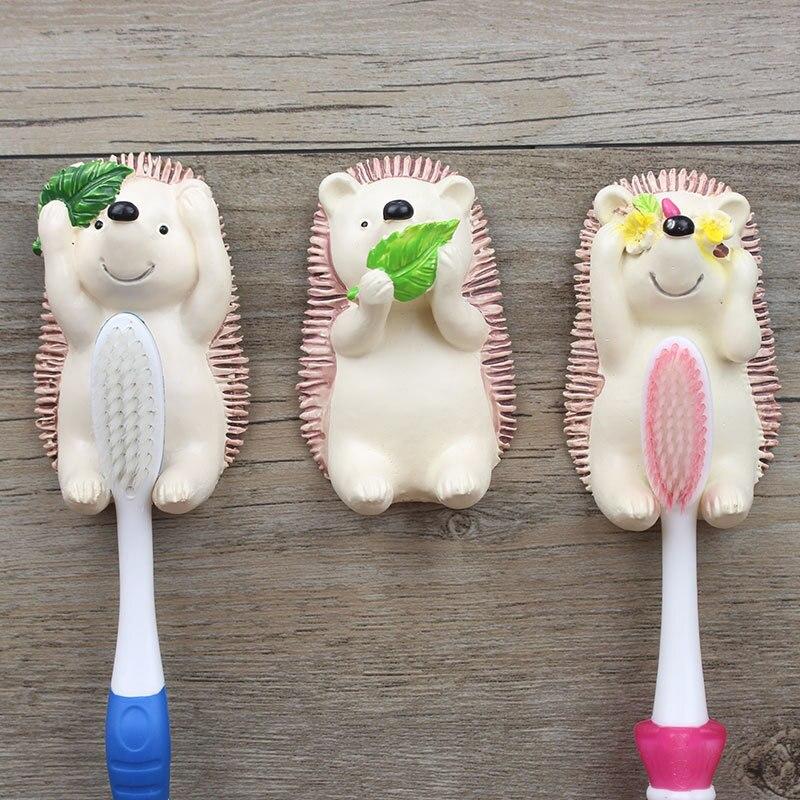 Cartoon Hedgehog Toothbrush Holder Rack Resin Animal Shape Wall Mount Bathroom Toothbrush Stand Organize Storage Hook