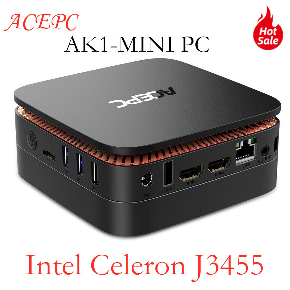 AK1 Mini PC Windows 10 mini ordinateur sans ventilateur PC 4G 64G RAM Intel Celeron Apollo Lake J3455 2.4G/5G WiFi 4K ordinateur de bureau