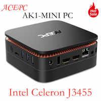 AK1 mini PC Windows 10 minikomputer bez wentylatora PC 4G 64G pamięci RAM Intel Celeron Apollo Lake J3455 2.4G/ 5G WiFi 4K komputer stacjonarny