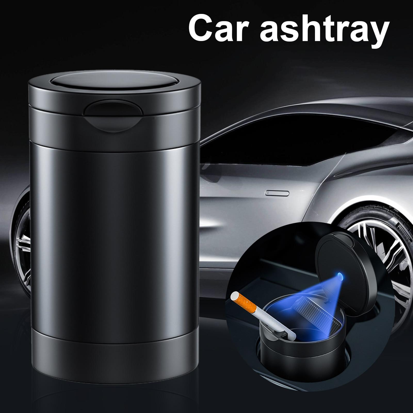 Алюминий сплав автомобильная пепельница со светодиодной подсветкой Портативный курение бездымный может Температура из поликарбоната для ...