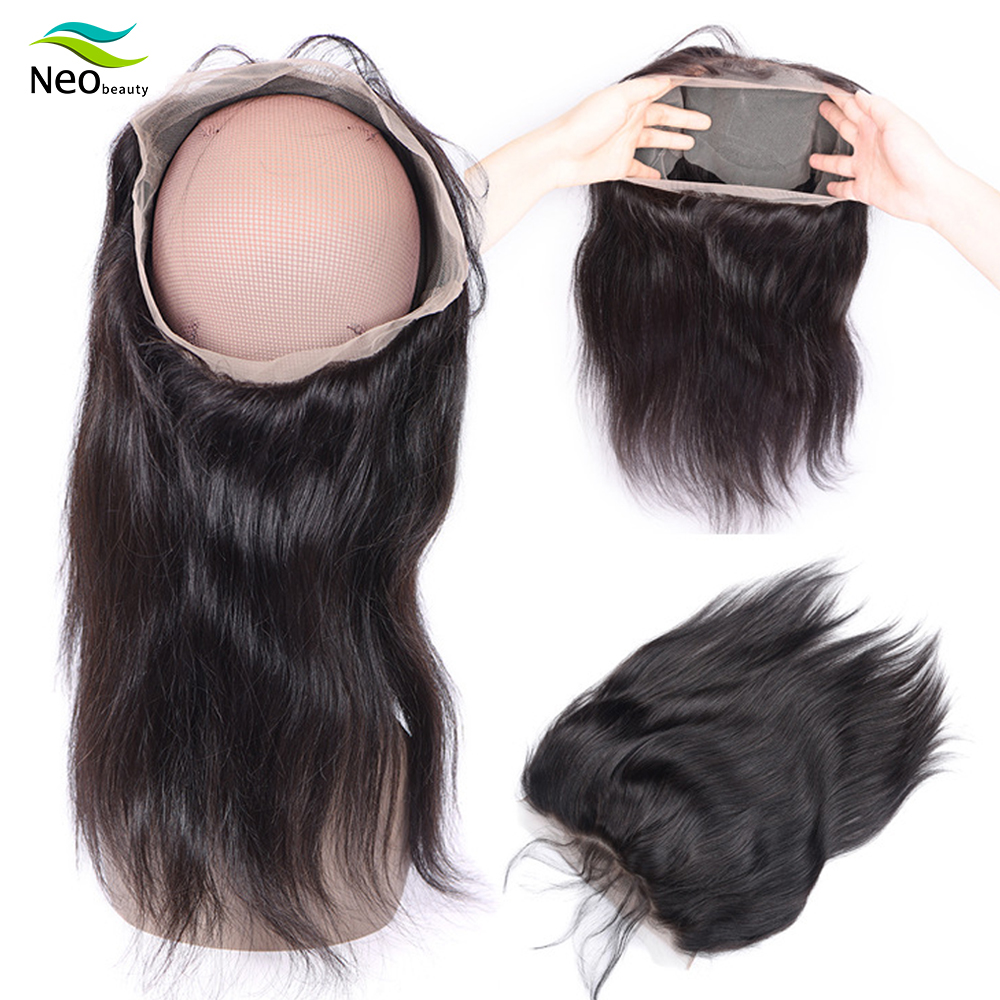 360 Lace Frontal Closure With Baby Hair Brazilian Body Wave Frontal Swiss Lace Frontal 100% Remy Straight Human Hair Closure
