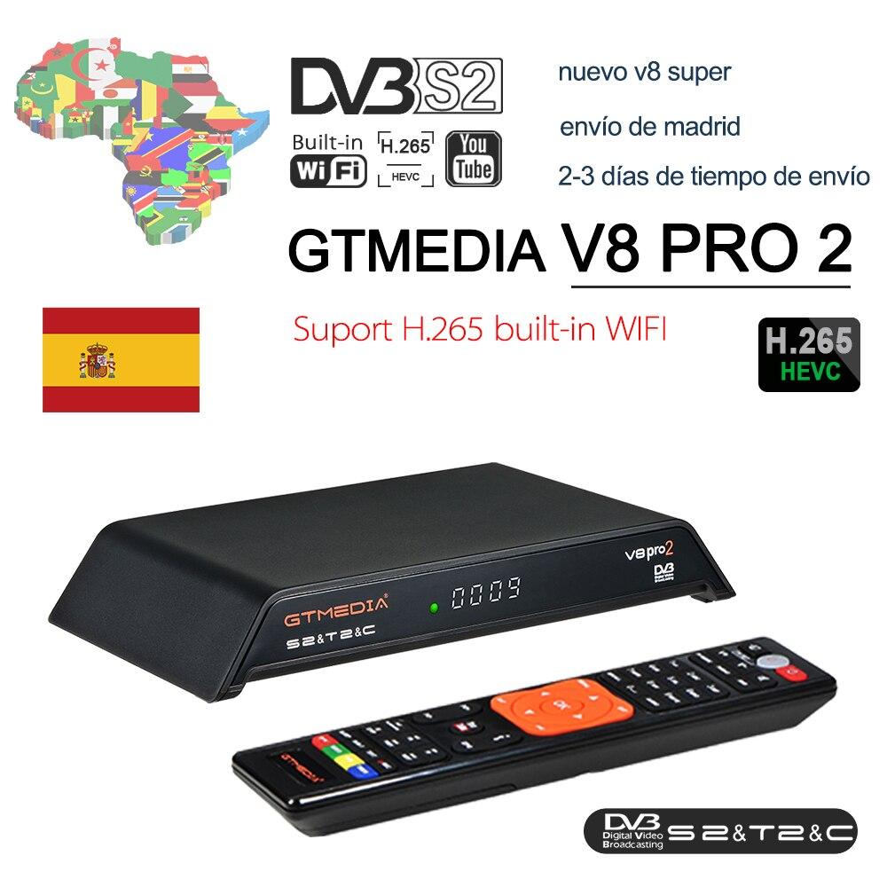 Спутниковый ресивер GTMedia V8 Pro2 DVB-T2/S2/Cable/S2X H.265, Встроенный 2,4G WIFI Combo, бесплатный к air TV box для Global Europe TV