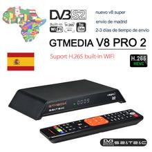 Gtmedia v8 pro2 DVB-T2/s2/cabo/s2x receptor de satélite h.265 built-in 2.4g wifi combo livre para ar caixa de tv para europa global tv
