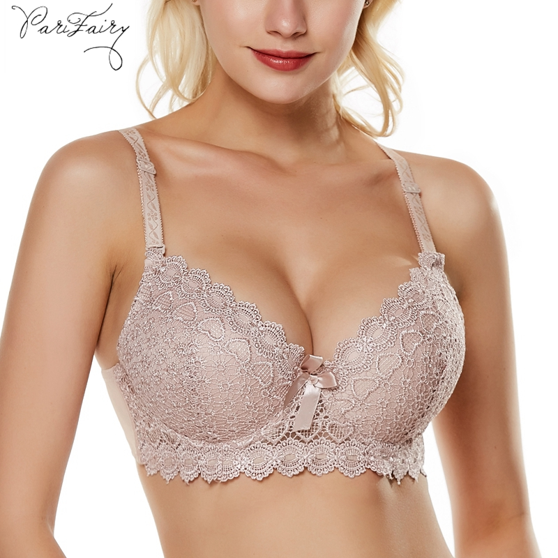 PariFairy <font><b>Sexy</b></font> Deep V Cup <font><b>Bras</b></font> for Women Push Up Lingerie Lace <font><b>Bra</b></font> Plunge Intimates Female Underwire Underwear Plus Size <font><b>38B</b></font>-48C image