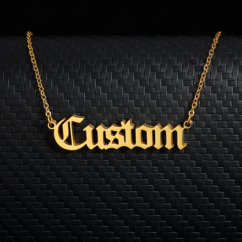 Personalized Old English Font Custom Name Necklaces For Women Men Gold Silver Color Stainless Steel Long Chain Pendant Necklace