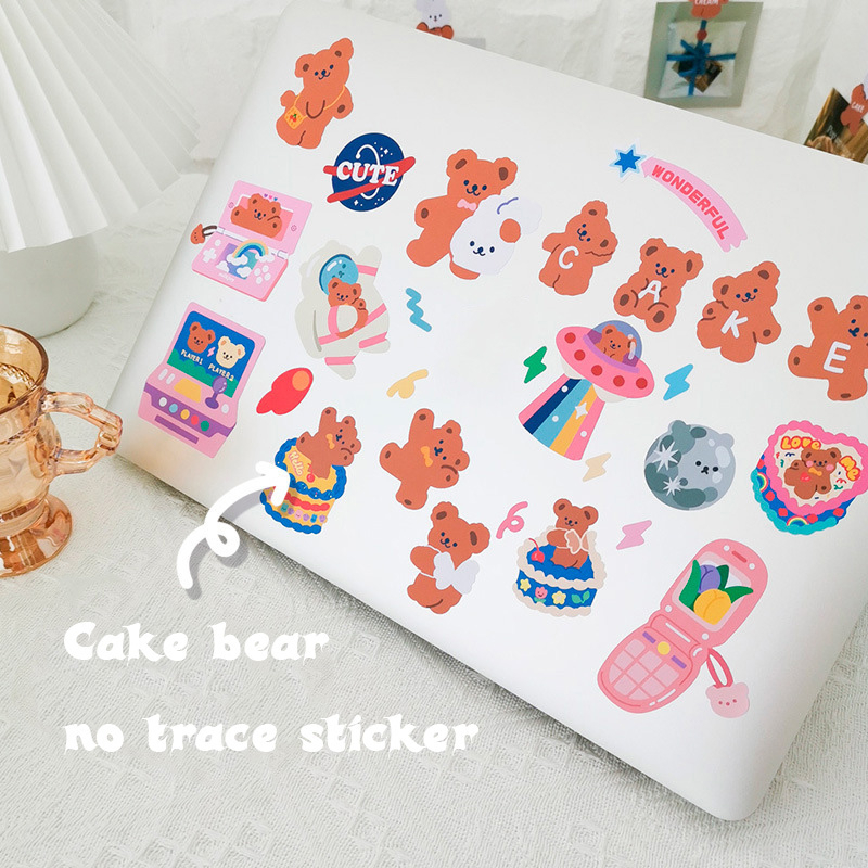 Cake Bear Decorative Sticker Cute Labels Seal Stickers Scrapbooking Laptop Handbook Traceless Removable Post It Diy Stationery