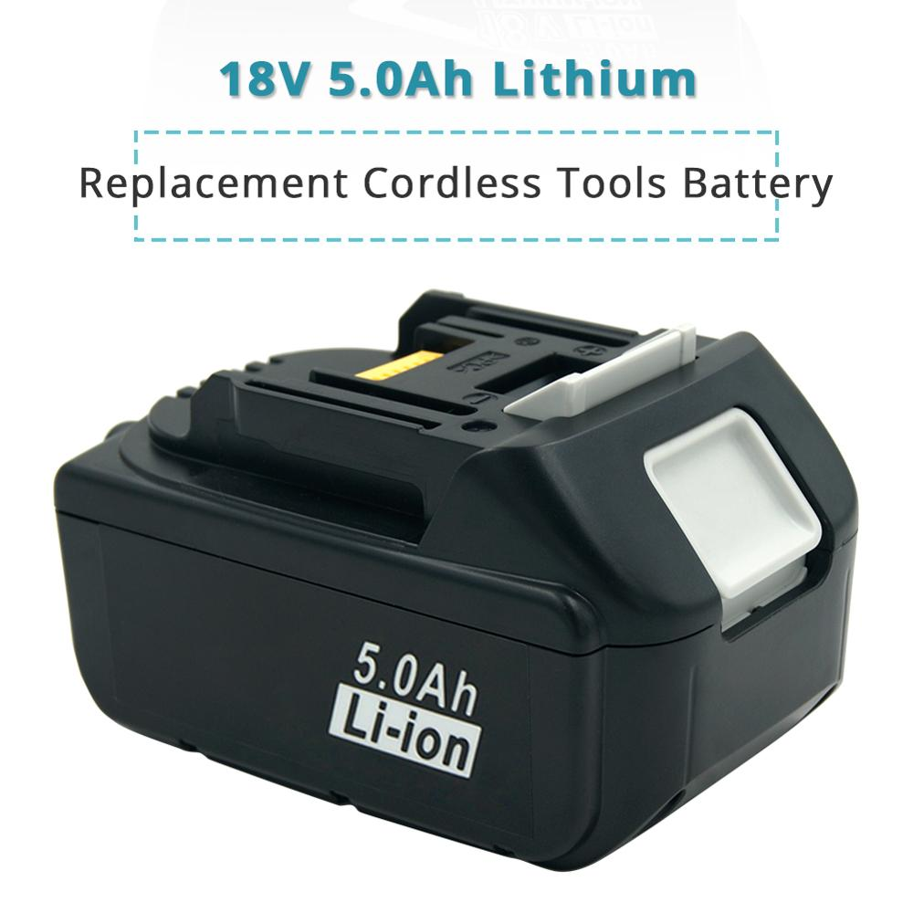18V 5.0Ah Lithium-Ion Battery Replacement for <font><b>Makita</b></font> BL1850 BL1840 BL1830 <font><b>BL1820</b></font> LXT-400 194204-5 DHR202Z Cordless Power Tools image