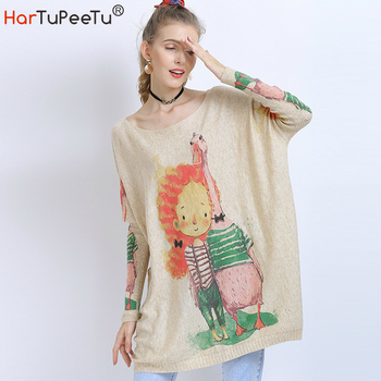 2020 New Autumn Sweater Dress Women Oversize Knit Sweaters Fashion Funny Cartoon Print Batwing Long Sleeve Pullover Tops batwing sleeve self tie knit dress