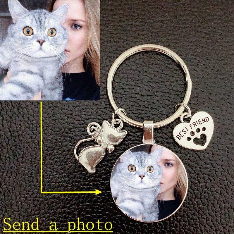Индивидуальный брелок для ключей с фотографией кошки-кошка и любовь хрустальный стеклянный кулон Автомобильный ключ любимый подарок сувен...